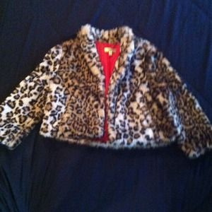 Faux fur cropped jacket NWOT