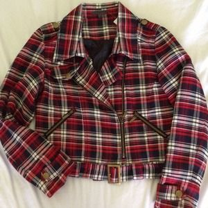 Red Plaid Biker Jacket