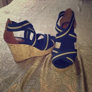 Navy and Tan wedges