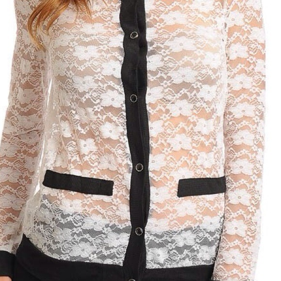 50% off Tops - Black Trim Button Up White Sheer Lace Cardigan from ...