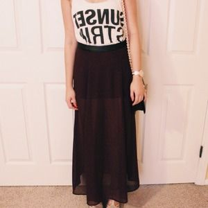 Forever 21 - F21 Chiffon Dark Purple Maxi Skirt from J's closet on ...