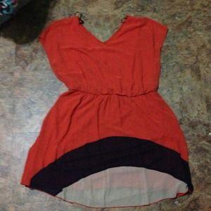 Dresses & Skirts - Orange, navy, and tan dress.