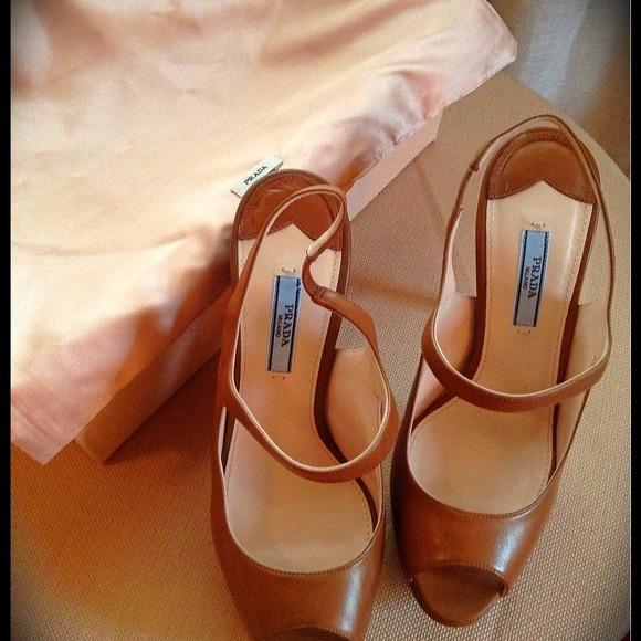 e6e37ee9175 Prada Mary Jane Slingback Peep Toe Platform Heels