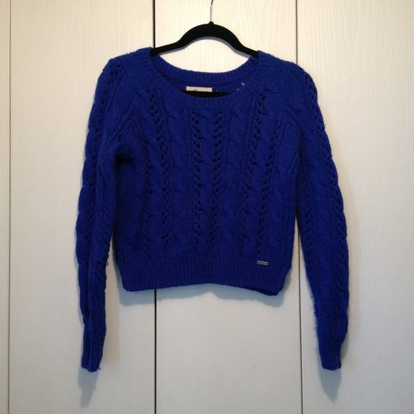 77% off Hollister Sweaters - Hollister Royal Blue Knit Sweater ...