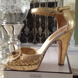 Coach Shoes - Authentic Coach Gold Heels