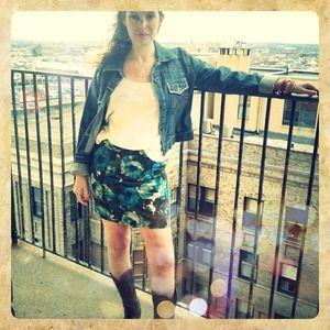 CLOSING SALE Anthro Corduroy Summer Flowers Skirt