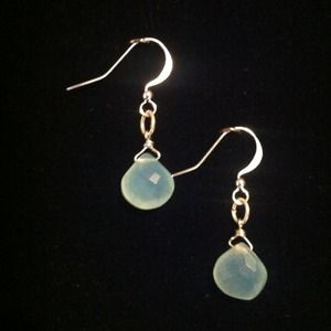 52) Authentic chalcedony drop earrings