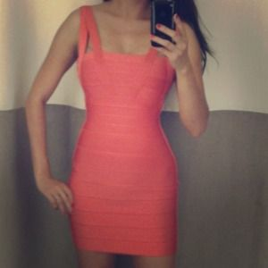 Herve Leger Dresses & Skirts - NWT Authentic Herve Leger Coral Bandage Dress