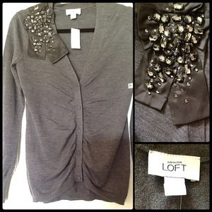 Ann Taylor Loft 💎 Jeweled Heather Grey Sweater