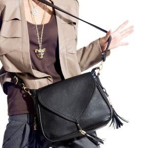 Black tassel motorcycle bag