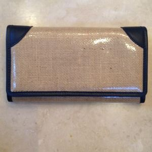 Valextra beige and navy wallet
