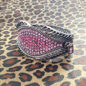 Rhinestone Zipper Lips Bangle