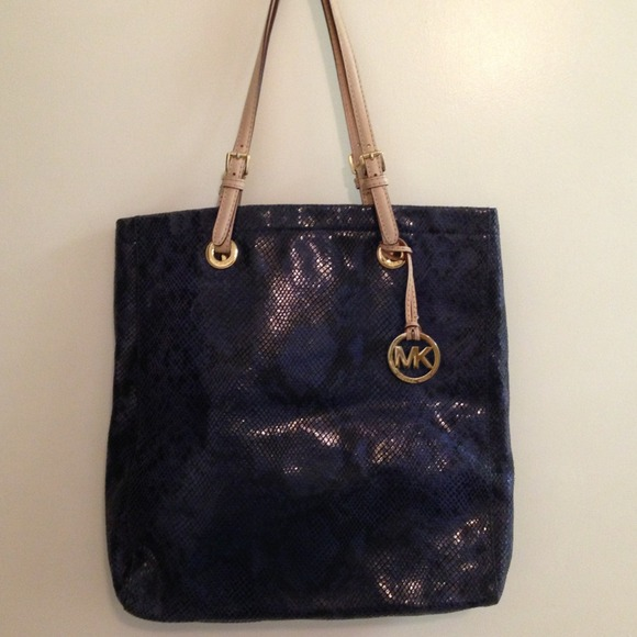 56296f89c8 Authentic Michael Kors navy blue snake skin bag! M 51f31a9b743cef05d9000d87