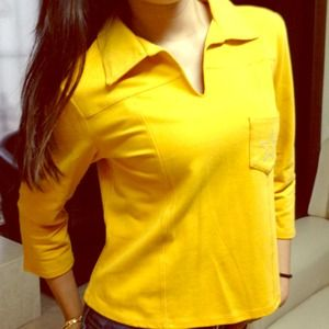 Tops - 3/4 Sleeve Yellow Top