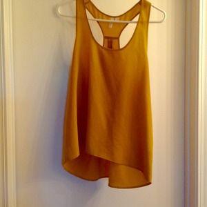 Tops - Mustard colored silk like shirt