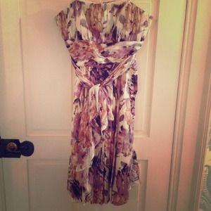BCBG strapless silk floral dress
