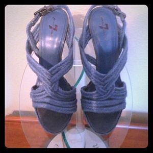 "7 for all Mankind ""Riley"" Blue Jute heels sz 9.5"