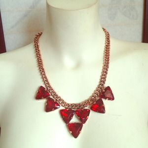 NEW Red Gold Triangle Rhinestone Statement Necklac