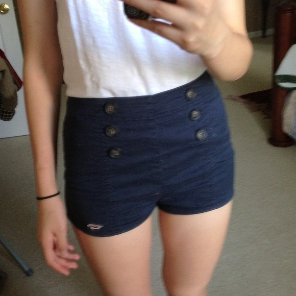 67% off Hollister Pants - High Waisted Nautical Navy Shorts from ...