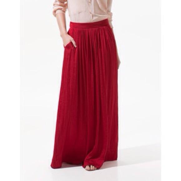 Satin red long maxi dress