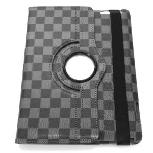 ipad4th 3 2 360 Rotating Checkered Case Cover Grey