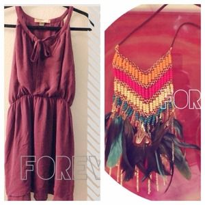BUNDLE Forever 21 feather necklace + dress