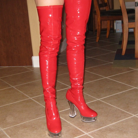 pleaser brand stretch patent thigh high boots 10 from