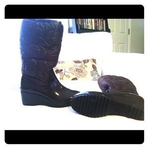 Coach brown wedge rain boots size 8 worn once