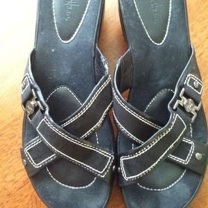 Cold Hann black wedge sandals. Good condition.