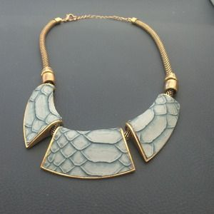 Faux snakeskin and gold statement necklace