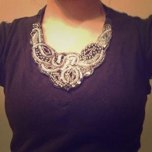 XXI Beaded, Jeweled, Studded necklace piece.