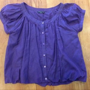 Plum fully  lined cotton button front top