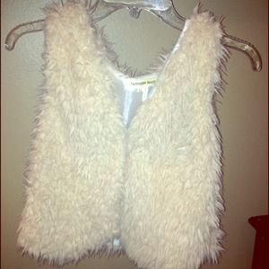 Off white short fur vest