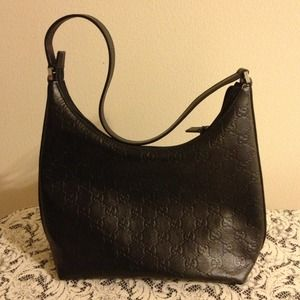 HOST PICKGUCCI black leather bag *Authentic*