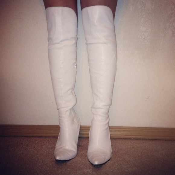 54% off Boots - Hot Over The Knee White Leather Boots from ...