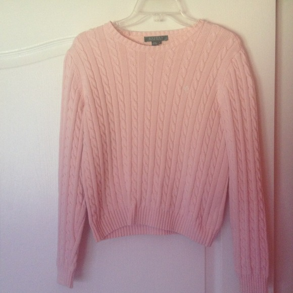 85% off Ralph Lauren Sweaters - Salmon pink Ralph Lauren cable ...