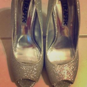 traffic Shoes - Sparkly high heel peep toe.