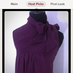 HOLDEggplant Silk Tie Neck Blouse