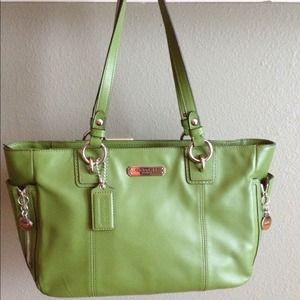 sale coach leather shoulder bag grey green lyst 4045c 4b1dd  hot coach  green leather zip tote. f7a29 14c0c 51b9965afbf23