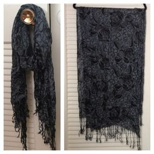 Accessories - Black Floral Scarf
