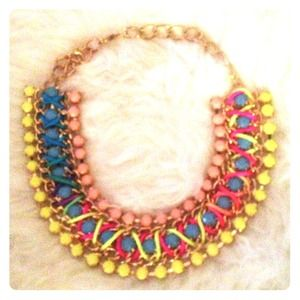 Statement Necklace Gold and Neon Colors