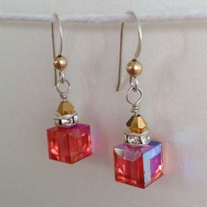 """Coral"" Swarovski and Silver Earrings"