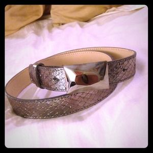 Pewter leather belt with rectangular buckle