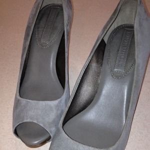 Banana Republic Shoes - Grey Suede Peep Toe Pumps