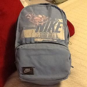 Nike, Baby Blue Backpack W/Pink Embroidery