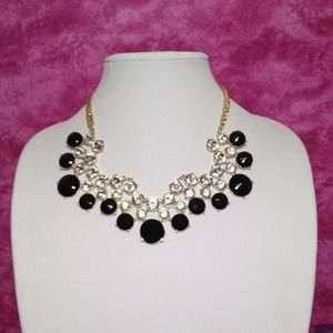 Black and rhinestone statement necklace.
