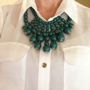 BaubleBar emerald beaded bib necklace