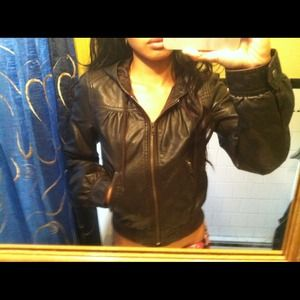 H&M Brown Leather Jacket. Hood. Size 2