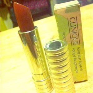 Clinique cosmetics; long last lipstick.