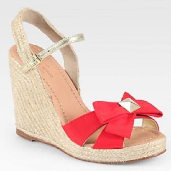 c77a5a058687 ♢️SOLD♢️Kate spade red carmelita wedge sandal NIB